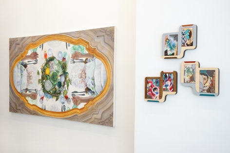 This is an installation view of the group exhibition Counter Narratives: Geographies of the Unfamiliar, which features paintings on the walls. There is a large horizontal painting on the left.