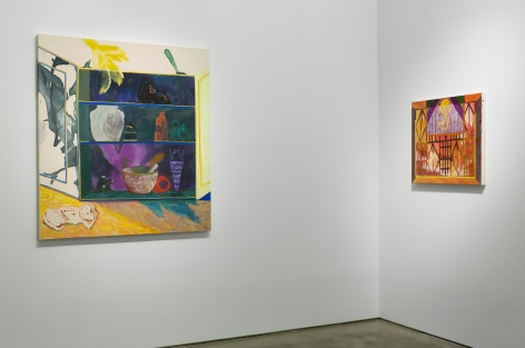 Installation view of Angelina Gualdoni's solo exhibition, showing two paintings on the walls.