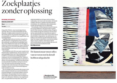 "Het Parool review on Marjolijn de Wit  - ""Searching pictures without a solution"", by Edo Dijksterhuis"