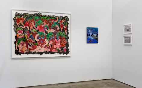 Installation view of ALIVE WITH PLEASURE!, which features a mix of artworks on hung on the walls