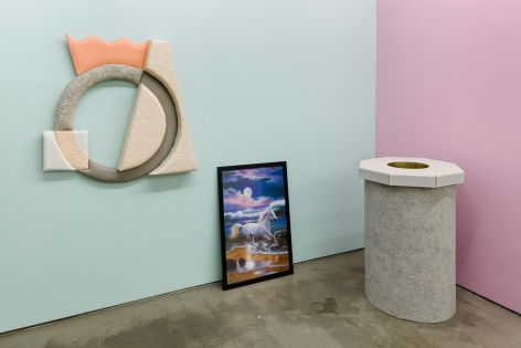 """Installation of artworks in """"Elysian Redux"""". Paintings and sculpture"""