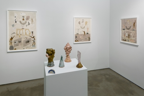 Installation of sculptures and works on paper