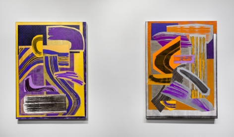 Installation view of paintings by Shane Walsh. Two abstract paintings are hung in the gallery.