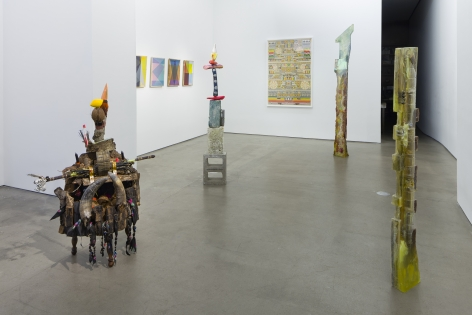 Installation with sculpture and wall pieces