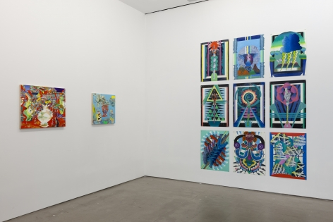 installation of paintings and linocuts