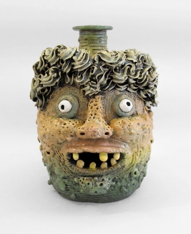 Stoneware face jug by Rebecca Morgan