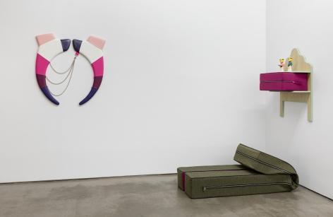 Corner Installation of vinyl floor and wall sculptures by Trish Tillman