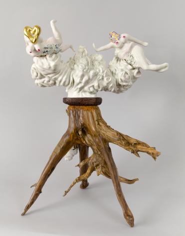 The Divine and the Mortal, 2012, Porcelain, tin-glaze, on glaze enamels, gold leaf, wood