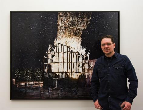 asper de Beijer posing with his digital print