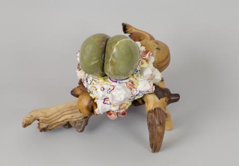 Prologue, 2012, Porcelain, tin-glaze, on glaze enamels, wood, Jade, shellac, wax