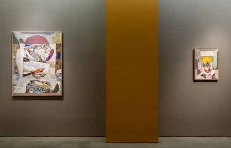 An installation view of paintings and sculptures by Gudmundur Thoroddsen. Two paintings are hung by a column.