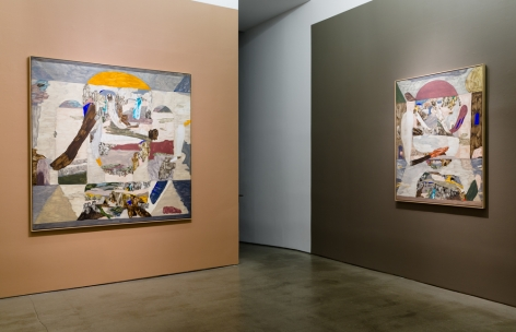 An installation view of paintings and sculptures by Gudmundur Thoroddsen. Large and medium paintings are hung by a doorway.