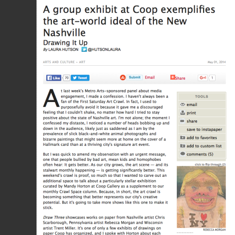 Nashville Scene. A Group exhibit at Coop exemplifies the art world ideal of the New Nashville