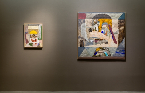 An installation view of paintings and sculptures by Gudmundur Thoroddsen. Two paintings are hung close together on a wall.