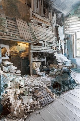 Site specific installation by Julie Schenkelberg at Mattress Factory Museum, 2015