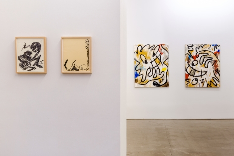 Installation view from Ricardo Gonzalez's solo exhibition. Featuring paintings and framed drawings on the wall