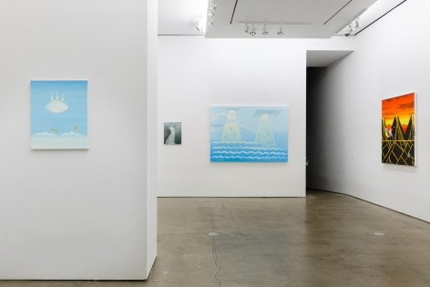 Installation view Ryan Michael Ford's solo exhibition. Paintings hang on the wall