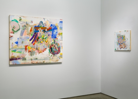 Installation image of Carolyn Case's solo exhibition. Two paintings line the gallery walls