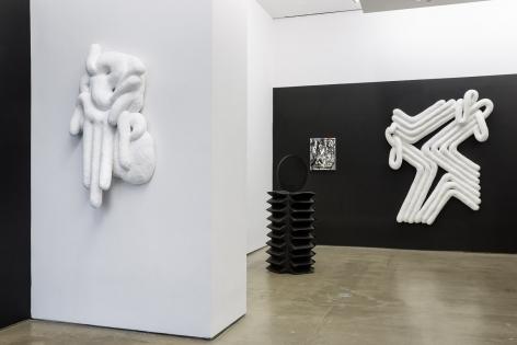 Installation view of Monochromatic, featuring work by Lauren Clay, Ricardo Gonzalez, Anna Mikhailovskaia, Rachel Stern, Tracy Thomason, Rodrigo Valenzuela