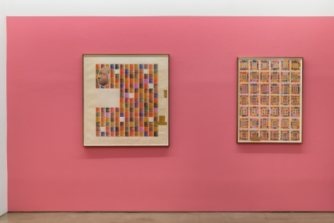 An installation view of Matthew Craven's solo exhibition, in which two framed collage pieces are hung on the gallery walls.
