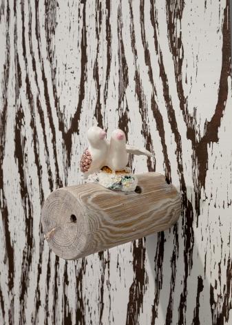 Love Birds, 2012, Porcelain and wood, liming wax, woodgrain hand print wallpaper