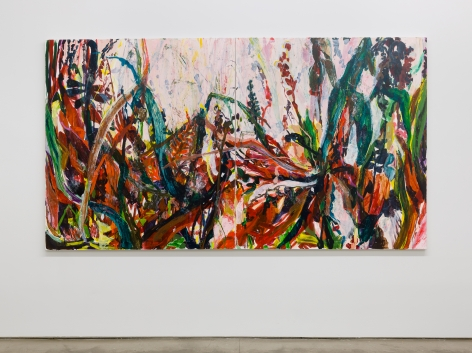 Installation view of Allison Gildersleeve's solo exhibition. Depicting abstracted floral paintings