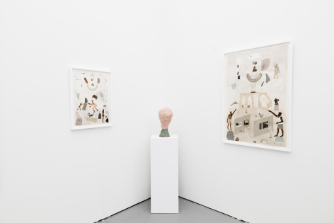Installation image of the art fair booth at UNTITLED Miami. Framed works are on the walls and ceramic sculptures are on a podium