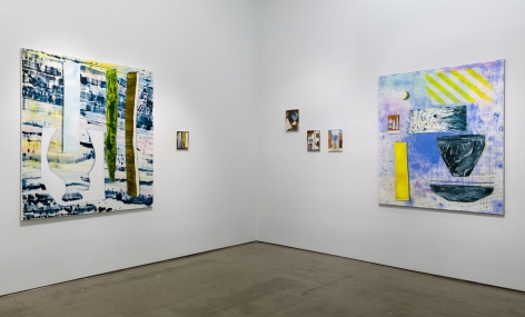"Installation image of Marjolijn de Wit's solo exhibition ""How Things Act"". Paintings are on the walls"