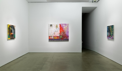 Installation view of Angelina Gualdoni's solo exhibition, showing paintings on the walls.