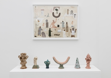 Installation image of the art fair booth at UNTITLED Miami. Framed works are on the walls and ceramic sculptures are on a shelf