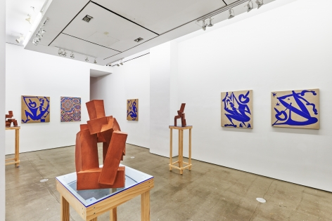 Installation view of works by Todd Kelly. The exhibition features paintings and sculptures.