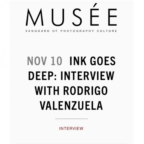 """Musee Magazine interview with Rodrigo Valenzuela: """"Stature"""" - """"Ink Goes Deep: Interview with Rodrigo Valenzuela"""", by Mica Bahn"""