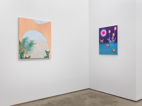 "Installation view of ""Plastic Garden"", a group exhibition of painting and sculpture. There are two paintings"