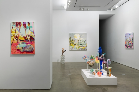 Installation view of Melanie Daniel's solo exhibition, featuring paintings and sculptures