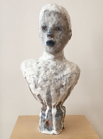 Maijolica Portrait Bust with Gray Face and Blue Lips