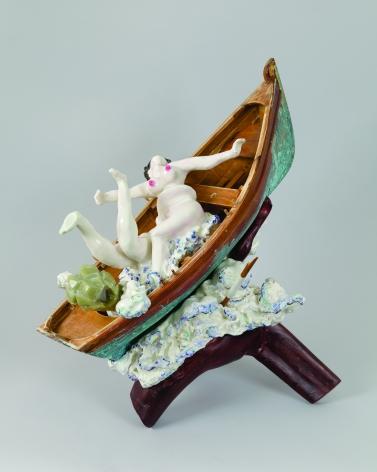 Pleasure at the Helm, 2012, Porcelain, tin-glaze, on glaze enamels, wood, and jade, shellac, wax
