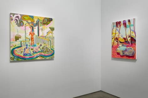 Installation view of Melanie Daniel's solo exhibition, showing two paintings