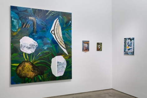 """Installation image of Marjolijn de Wit's solo exhibition """"How Things Act"""". Large and small paintings are on the walls"""