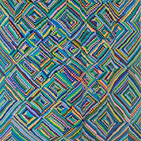 Grid Painting 1 (Twelve Colors Arranged on a Hand-Drawn Grid)