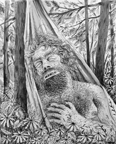 Sleeping Mountain Man in a Hammock