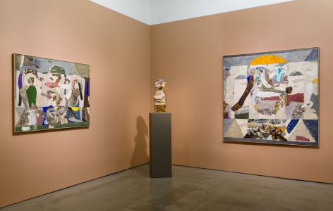 An installation view of paintings and sculptures by Gudmundur Thoroddsen. A bust is on a tall pedestal between paintings.