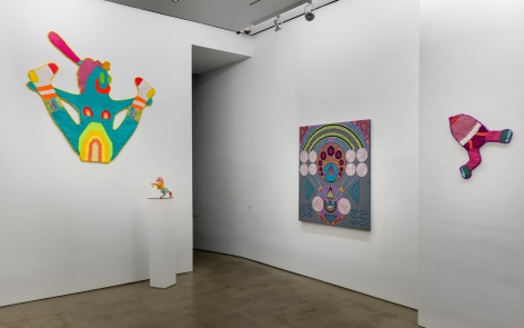 Installation view of ALIVE WITH PLEASURE!, which features a mix of artworks on hung on the walls and sculptures on pedestals