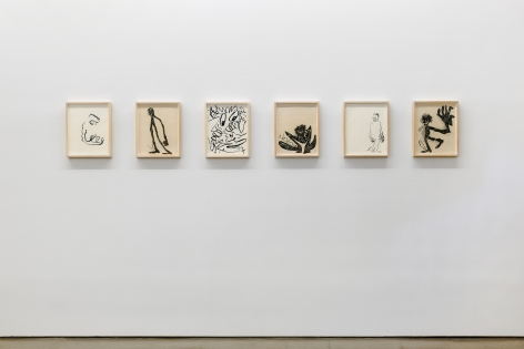 Installation view from Ricardo Gonzalez's solo exhibition. Featuring framed drawings on the wall