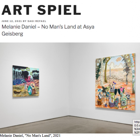 """Install view of Melanie Daniel in Art Spiel: """"Melanie Daniel – No Man's Land at Asya Geisberg"""", by Sagi Refael"""
