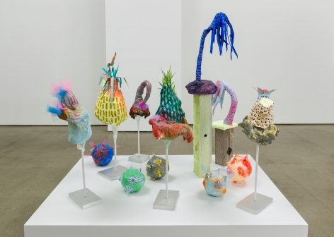 Melanie Daniel's sculptures on a low podium