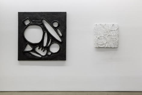 Installation image of Monochromatic, featuring work by Lauren Clay, Ricardo Gonzalez, Anna Mikhailovskaia, Rachel Stern, Tracy Thomason, Rodrigo Valenzuela