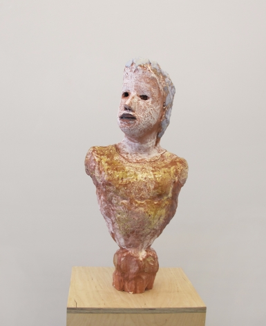Elise Siegel, Portrait Bust with Amber Shirt and Faceted Base, 2017