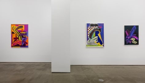 Installation view of paintings by Shane Walsh. Abstract paintings are hung in the gallery.