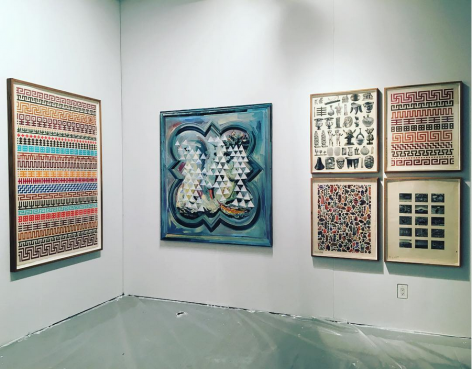 Installation view of the booth at Art Los Angeles Contemporary. Large works are on the wall