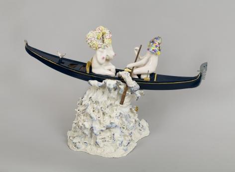 Streams of Oblivion, 2012, Porcelain, tin-glaze, on glaze enamels, gold leaf, pewter, wood
